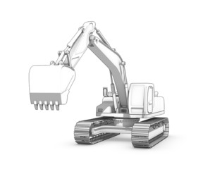 Drawing: black-and-white sketch of excavator