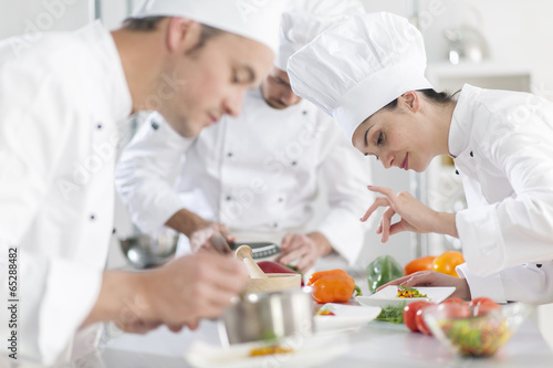 Portrait of a female chef preparing a dish carefully - 65288482