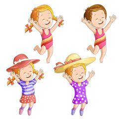 Cute cartoon girls with hat and swimsuit