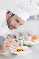 closeup on chef garnishing a plate