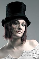 girl wearing  top hat