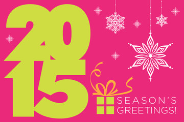 Happy new 2015 year. Seasons Greetings card.
