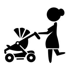 Векторный силуэт женщины с коляской
