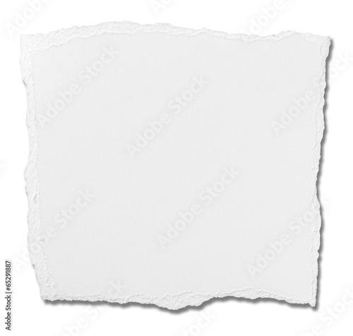 Leinwanddruck Bild white paper ripped message background