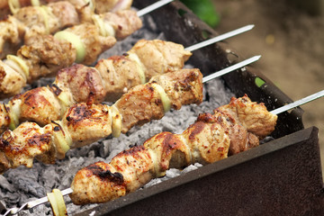 Pork Shish kebab on Fire. Appetizing fresh meat shish kebab prep