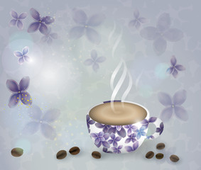 Spring coffee / Abstract floral cup in lilac garden