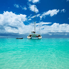 Beautiful beach with boat at Seychelles