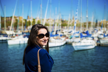 Woman tourist in harbor