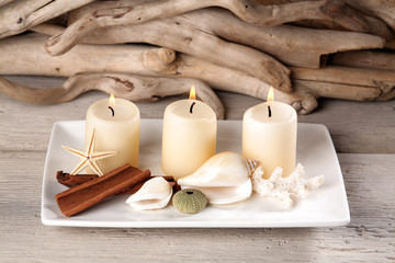 Plate decoration with candles Shells Starfish Coral wood