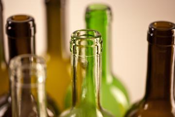 Empty Wine Bottle with bottleneck