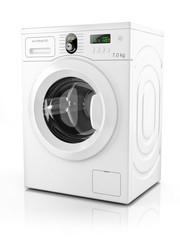 Modern washing machine isolated on white background. 3D