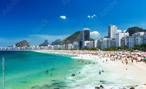 Spoed canvasdoek 2cm dik Zuid-Amerika land view of Copacabana beach in Rio de Janeiro, Brazil