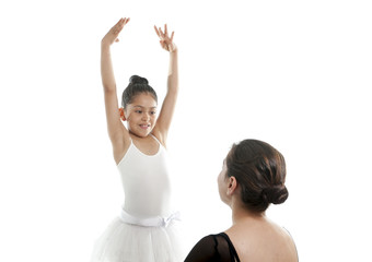 young cutel ballerina with dance teacher in dancing lesson