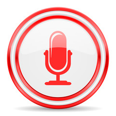 microphone red white glossy web icon