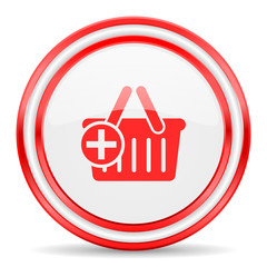 cart red white glossy web icon