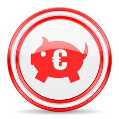 piggy bank red white glossy web icon
