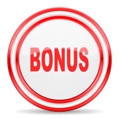 bonus red white glossy web icon