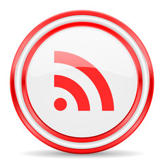 communication red white glossy web icon