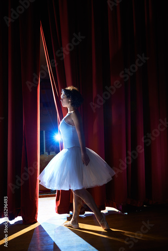 woman as classic dancer looking at stalls before ballet - 65296493