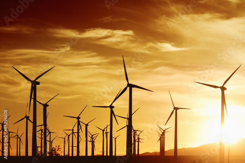 Tuinposter Openbaar geb. Wind Turbrines at Sunset