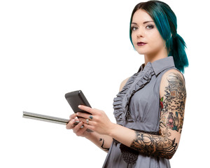 Young female holding scale and calculator