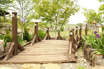 Old retro wooden bridge