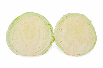 two halves of green Cabbage head Isolated on White Background
