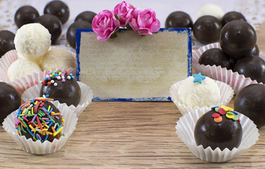 Greeting card with chocolate candies