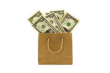 Dollar banknotes in brown paper bag.