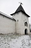 Winter view on ancient orthodox church in Pskov, Russia poster