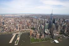 New York. Vue d'hélicoptère imprenable sur le sud de Manhattan