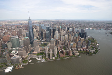 New York. Stunning helicopter view of lower Manhattan