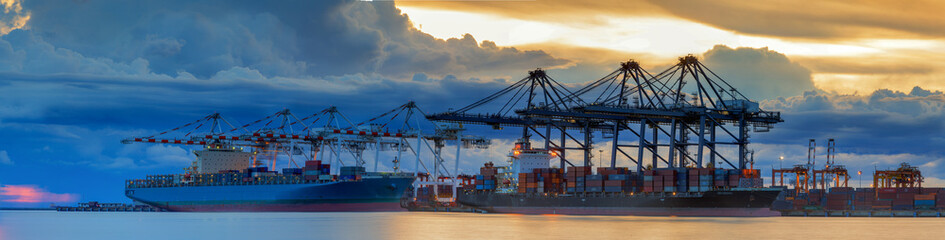 Container Cargo freight ship with working crane loading © anekoho