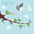 Cute cartoon flowering branch.Flying stork with newborn baby-boy