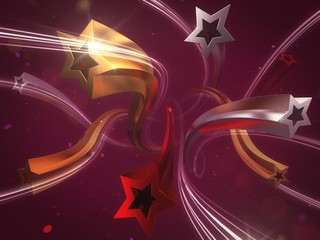 Festive Stars. 3D rendered graphic composition/background