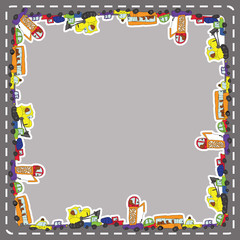 Funny cartoon Doodle frame.Child's hand draw cars