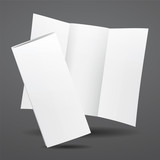 Blank vector white tri fold brochure template.
