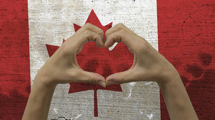 Hands Heart Symbol Canadian Flag