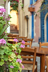 Flowers and seating arrangement in Chania