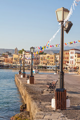Chania harbor in the early morning