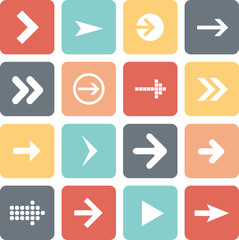 Arrow sign icon set, flat design, vector illustration of web