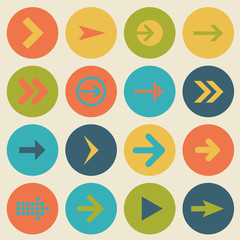 Arrow sign icon set, flat design, vector illustration of web