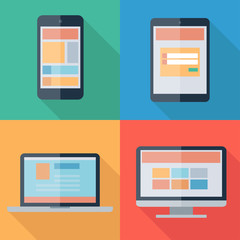 Vector illustration of adaptive web design on electronic devices