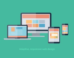 Responsive Web Design on devices notebook, monitor, tablet,