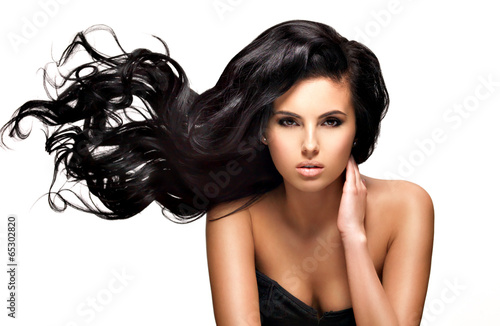 canvas print picture Beautiful brunette woman with long black  hair
