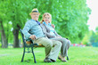 Elderly couple relaxing in park