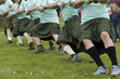 Leinwandbild Motiv Tauziehen Highland Games
