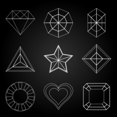 General gem shape icons on dark background