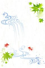 暑中見舞い 水の流れと金魚 (ハガキサイズ)