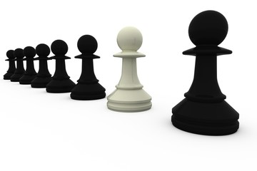 White chess pawn standing with black pieces